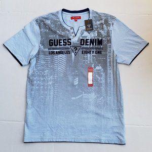 New Men's GUESS Irvine Slit-Neck Shirt sz L
